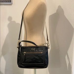 Auth Kate Spade ♠️ black leather crossbody purse